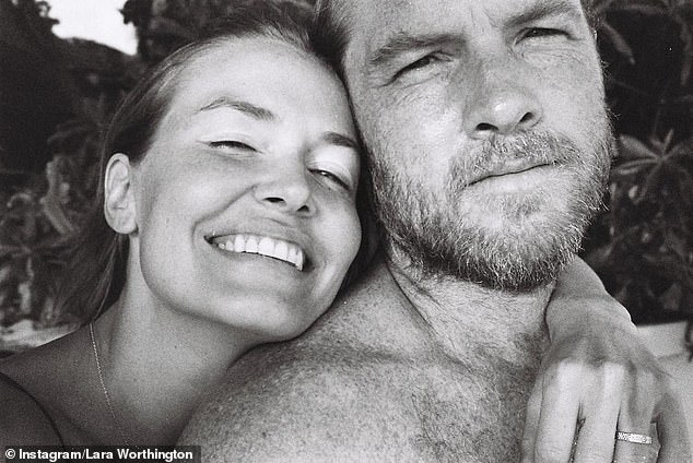 Family:The model revealed to Vogue Australia late last year that she is expecting her third son with husband, actor Sam Worthington, 43, (right) who she married in 2014
