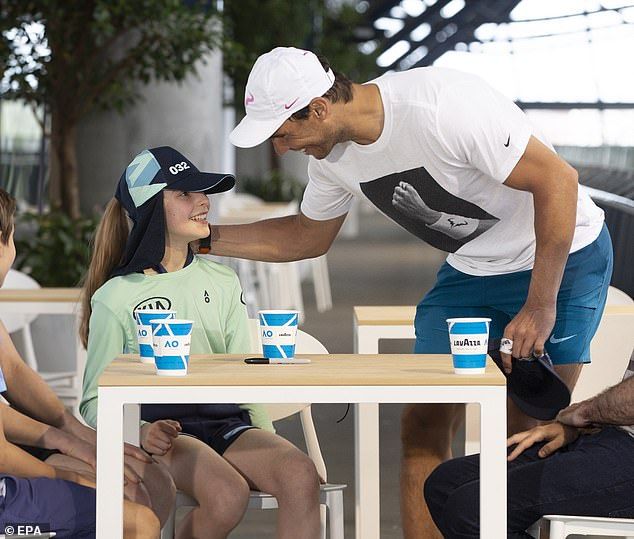 Nadal met with Anita after the game to make sure she was okay (pictured after the match)
