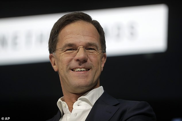 Mark Rutte, the Dutch PM pictured in Davos, Switzerland yesterday, said he believed the chances of a trade deal being agreed by December 2020 were '50/50'