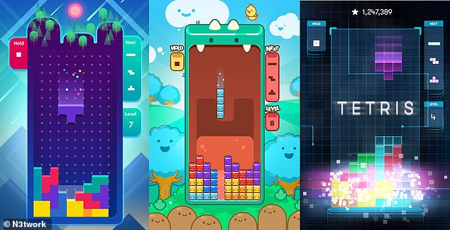N3twork signed an agreement last year to 'exclusively develop and publish new Tetris games built from the ground up for mobile devices worldwide'. N3twork is also working on a Tetris Royale game, but the latest version is the classic single-player version (pictured)
