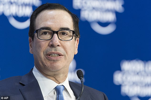Steven Mnuchin, the US Treasury Secretary pictured in Davos, Switzerland today, said of a trade deal with the UK: 'We look forward to getting that done this year.'