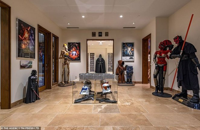 The sheer amount of memorabilia is akin to a museum collection, making this home a paradise for any Star Wars fanatics