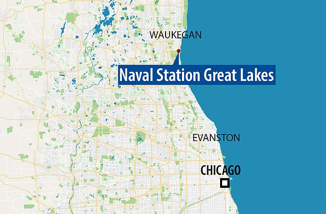 The base is located on Lake Michigan about 35 miles (56 kilometers) north of Chicago