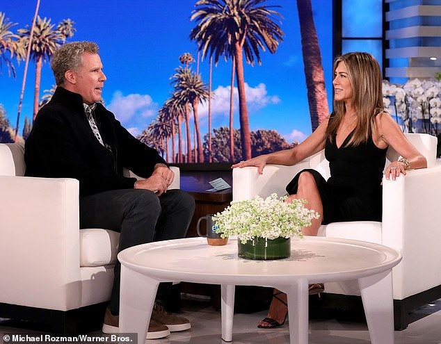 Funny people chatting: The episode, which airs Friday, will see Aniston welcome guests Will Ferrell...