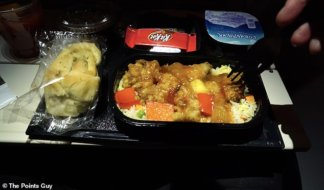 Jean's biggest grip in economy was the food, pictured, which he said was 'not special'