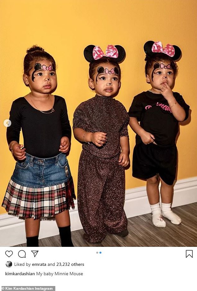 Cute kids:The Kardashian Kids got their own portrait shared on social media Friday morning. In an image shared to Instagram by Kim Kardashian, three of the little ones can be seen during their day out at Disney World in Florida