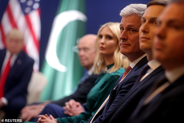 US White House National Security Advisor Robert O'Brien looks on during a bilateral meeting between Trump and Pakistan's PM Imran Khan at this year's 50th World Economic Forum