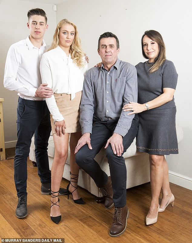 Paul Beshenivsky, Sharon's widower (2R) is pictured with his wife Michelle (right), son Paul (left) and daughter Lydia