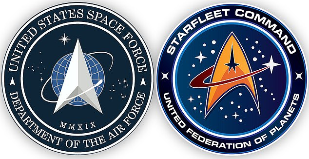 Social media users pointed out that the Space Force logo (left) looks a lot like the insignia from the Starfleet Command (right) as seen on Star Trek