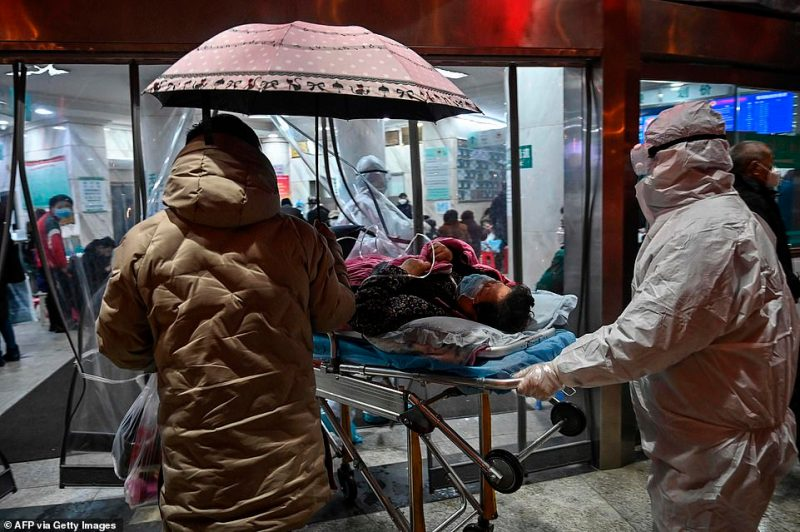China cut off trains, planes and other links to Wuhan on Wednesday, as well as public transportation within the city, and has steadily expanded a lockdown to 16 surrounding cities with a combined population of more than 50 million, greater than that of New York, London, Paris and Moscow combined (pictured, medics at Wuhan Red Cross Hospital)