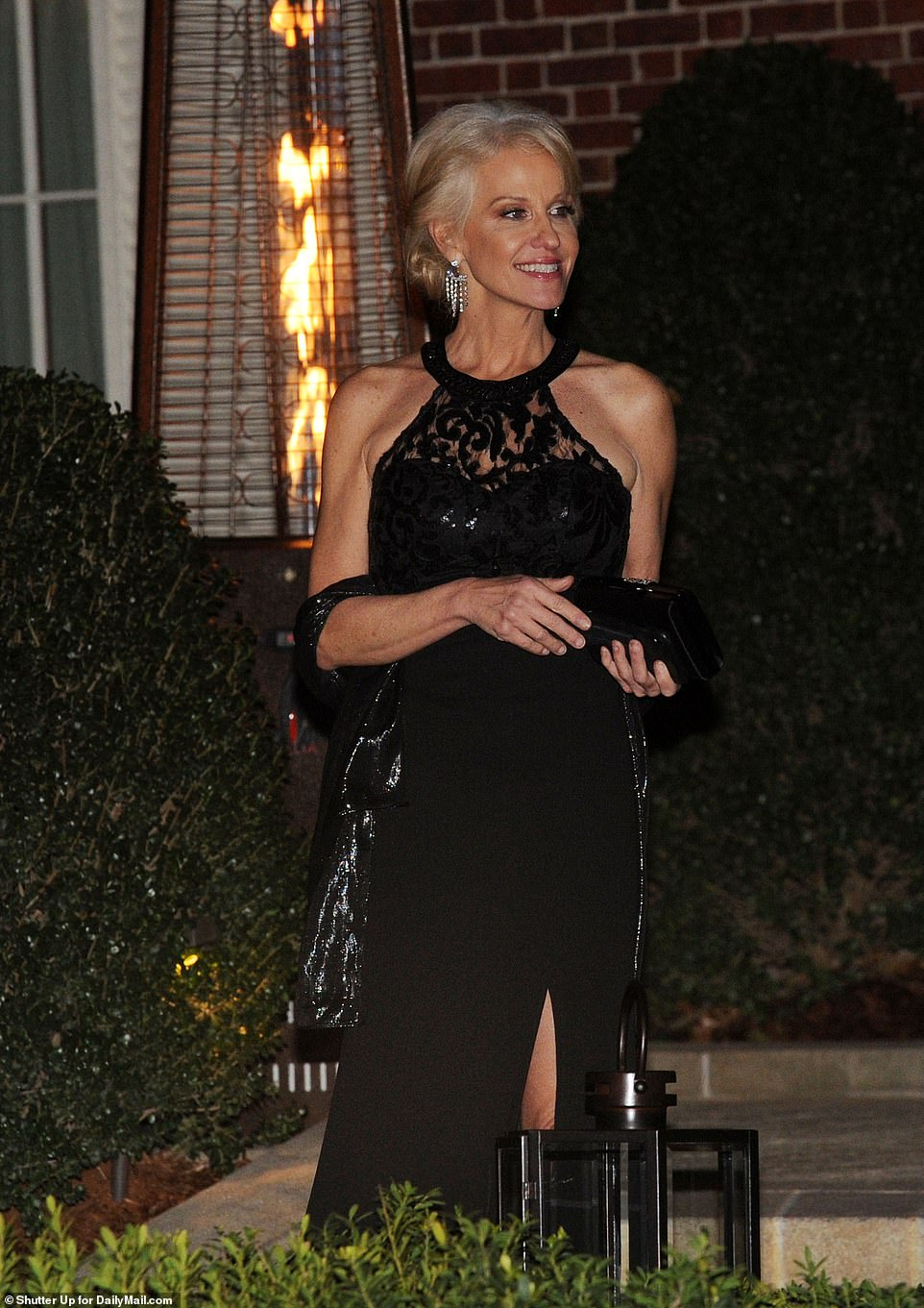White House Adviser Kellyanne Conway also attended the fête sporting an elegant black halter dress for the occasion