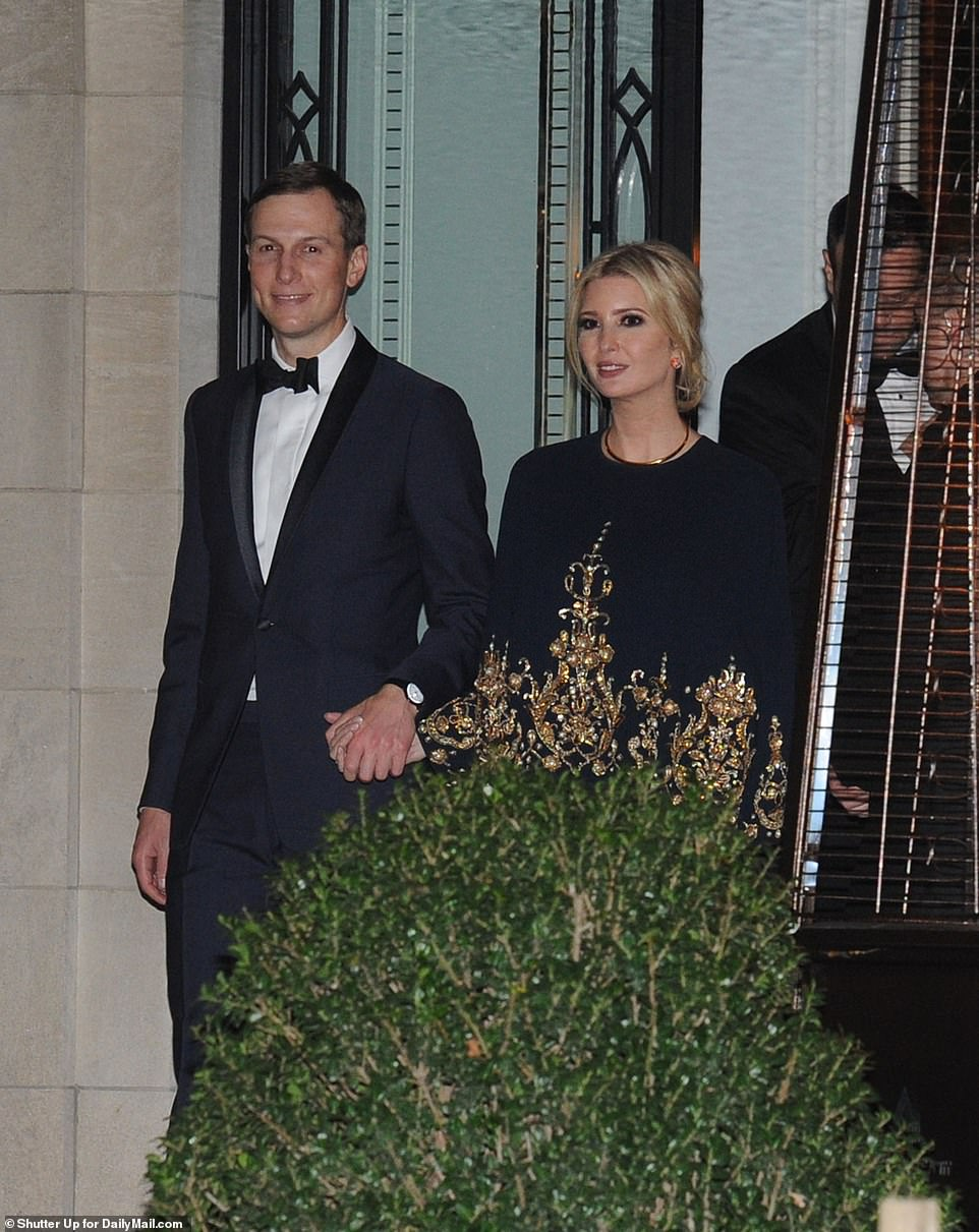 Ivanka Trump and her husband Jared seemed loved up as they walked out hand in hand from Alfafa Dinner  on Saturday night to attend a grand welcoming party at Amazon founder Jeff Bezos' new Washington DC mansion