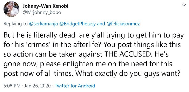 """'Are y'all trying to get him to pay for his """"crimes"""" in the afterlife?' one Twitter user asked"""