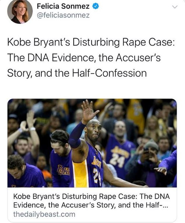 Hours after it was learned that Bryant and his 13-year-old daughter were among nine people who were killed in a helicopter crash, Sonmez tweeted a link to a 2016 story about the 2003 rape accusations against the basketball legend
