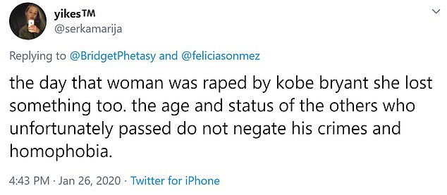 'The age and status of the others who unfortunately passed do not negate his crimes and homphobia,' wrote one Twitter user