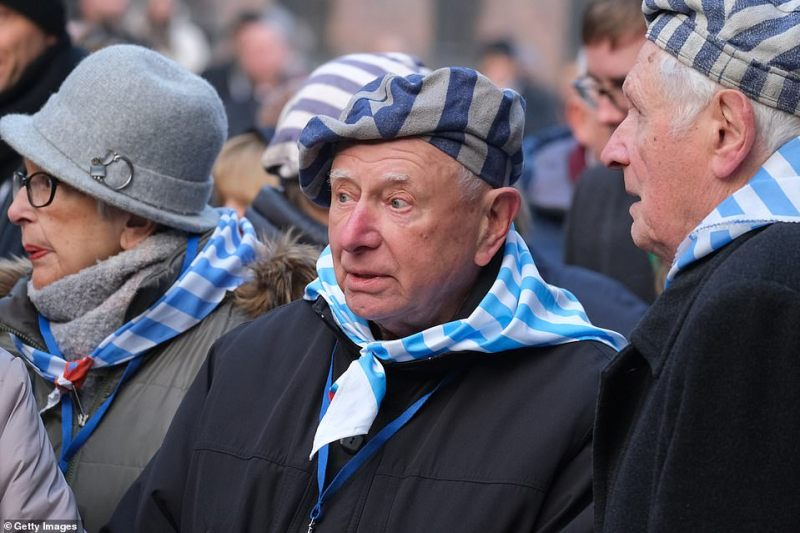 Survivors gather for the ceremony to mark the 75th anniversary of the liberation of Auschwitz. Historians estimate more than one million people were killed inside the prison - many of whom were Jews