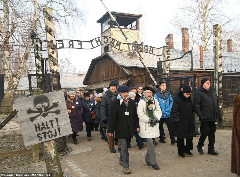 Hundreds of the Nazi run camp survivors could be seen arriving at the site in Poland to mark 75 years since the Soviet Army arrived to liberate and free the thousands of prisoners from inside its walls