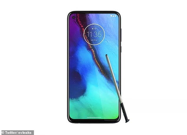 A new image leaked by Blass (pictured) shows a Motorola device that comes with a stylus - potentially the first stylus phone from the company in a decade