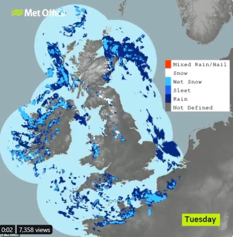 The latest snowdar shows last night's rain, sleet and snow clearing Scotland, but there will be snow on the ground in parts of the north this morning, with ice in places too, the Met Office said