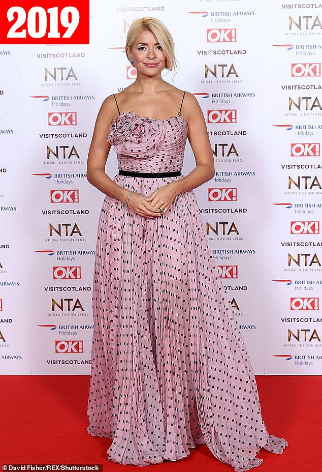 Glamour: At last year's event, the mother-of-three caught the eye as she slipped into a strappy pale pink ensemble, complete with a ruffled bodice and black polka dots