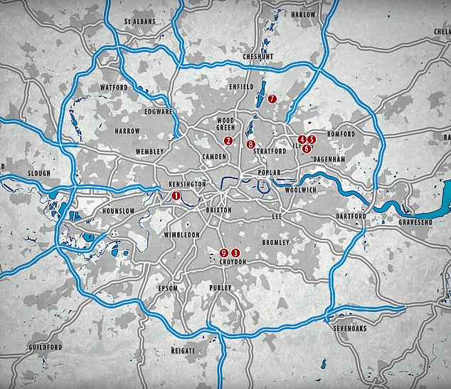 The map above shows where the various murders have happened in London so far this year