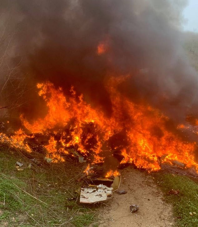 Dramatic pictures have revealed how Bryant's helicopter exploded into a fireball after it plunged 1,000 feet into a hillside on Sunday, killing the NBA legend and eight others