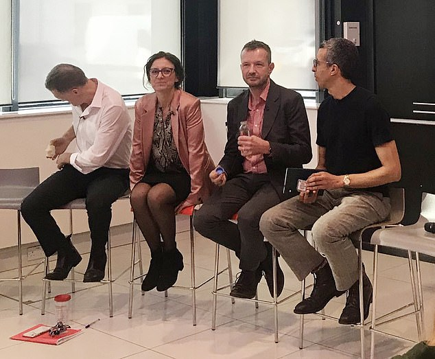 BBC executives Gavin Allen (left), Naja Nielsen (second from left), Jonathan Munro (second from right) and Kamal Ahmed (right) sat in front of staff on barstools at New Broadcasting House as they cut 450 jobs last year