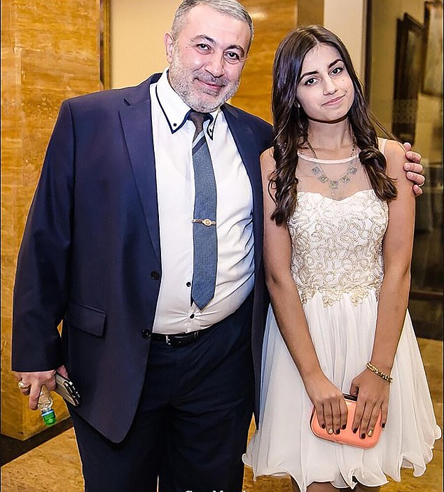 Mikhail Khachaturyan (left) was stabbed to death in Moscow by his three daughters, including Angelina (pictured right)