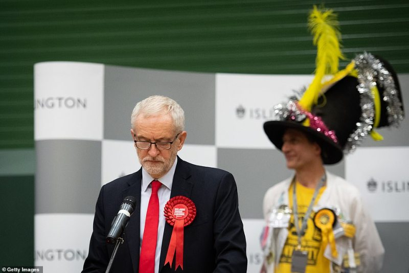 In the election on December 12, 2019, Jeremy Corbyn's Labour recorded its worst performance since 1935 after he sits on the fence over Brexit. He is pictured at the Islington North count