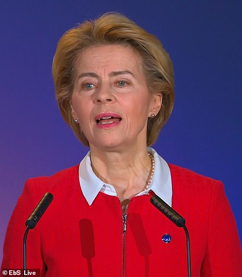 Ursula von der Leyen said at an event in Brussels this morning that 'strength does not lie in splendid isolation' but insisted she wanted to have the 'best possible' relationship with the UK after Brexit
