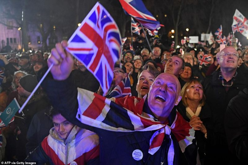 There were scenes of jubilation as the minutes ran down towards the UK's exit from the EU after 47 years of membership