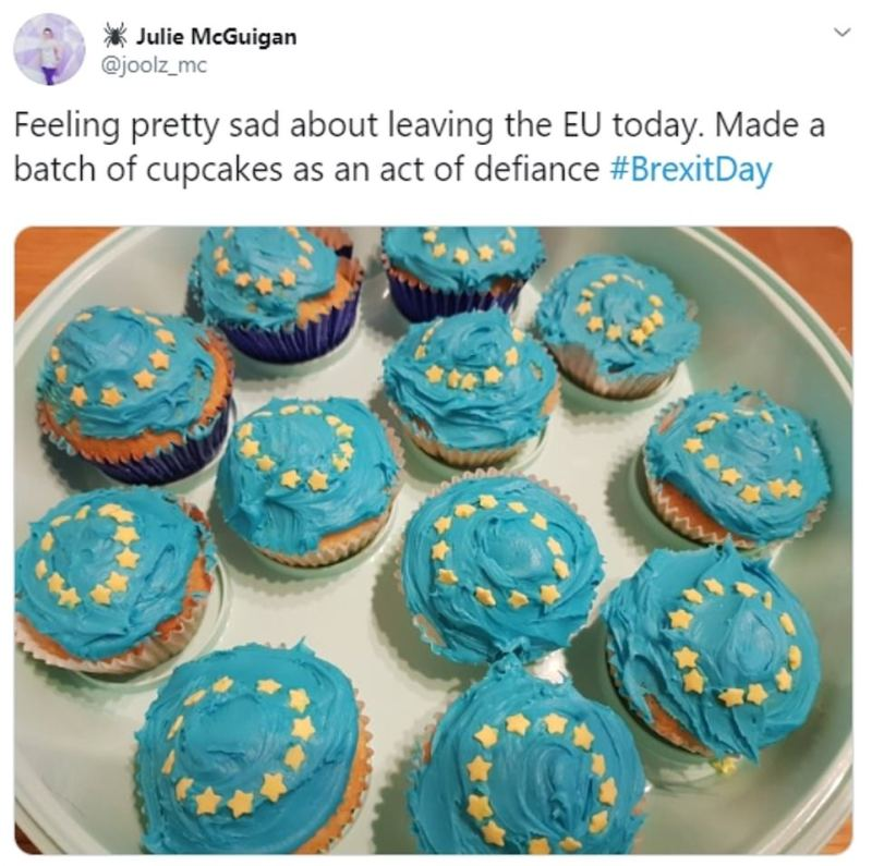 Julie McGuigan, who said she felt sad at Britain's departure from the EU, has shared an image of some European themed cupcakes she baked as 'an act of defiance'