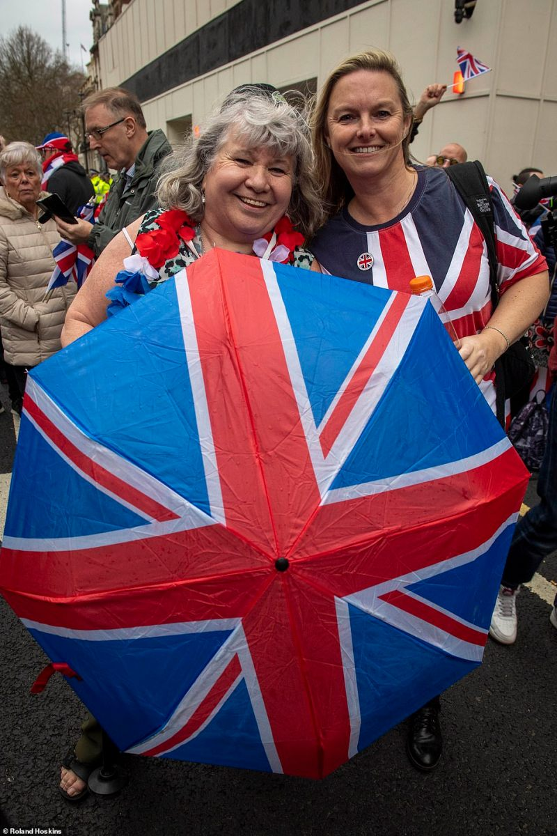 Just in case in rains, some Britons brought Union Jack emblazoned umbrellas to the celebrations in London