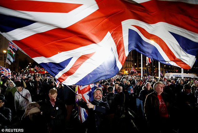 In nearby Parliament Square, Union flags were prominently on show as Brexit supporters showed their delight about the departure from the EU