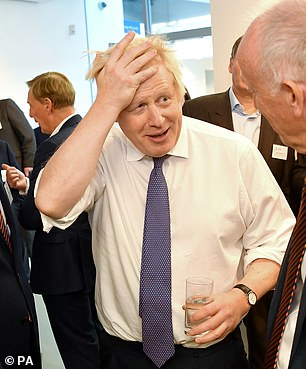 Boris Johnson pictured in Sunderland yesterday