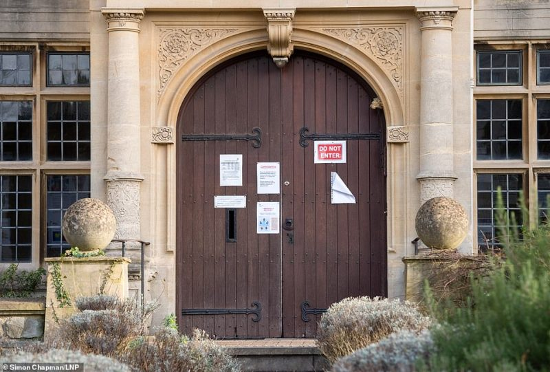 Notices referring to the coronavirus are pinned to the door of the Family Practice Western College in Hampton Road in Bristol. The surgery appears to be closed despite the sign saying it is open on Saturday mornings