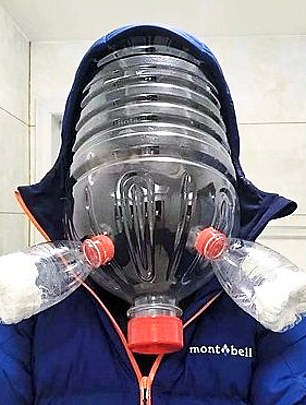 Another covered his face one large plastic bottle attached to two smaller ones