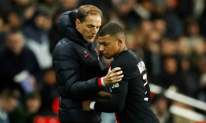 Kylian Mbappe has a fiery exchange with PSG boss Thomas Tuchel ...
