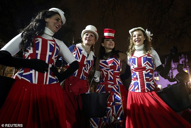 Many of the pro-Brexit revellers had decided to dress up for the good-natured party in Parliament Square last night
