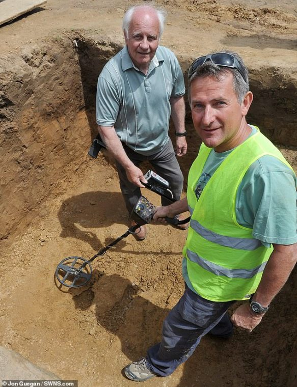 Metal detectors Reg Mead, left, and Richard Miles, right, made the discovery. They are pictured in the coins hiding place