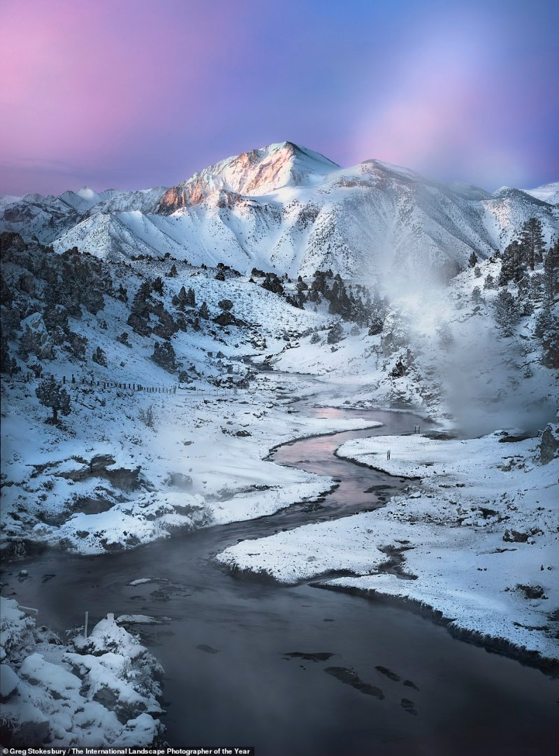 American photographer Greg Stokesbury caught this image of the snow-frosted Californian Sierras beneath a lavender sky