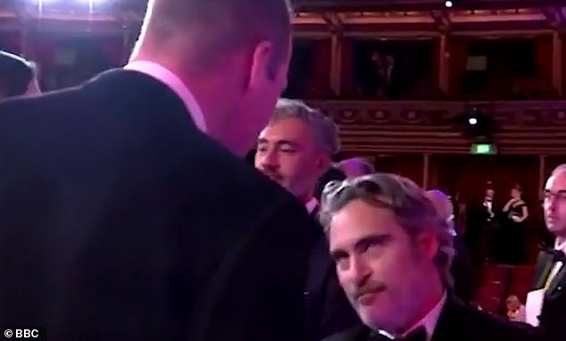 Unconventional: A clip of the moment, which has been widely circulated online, shows the actor apparently attempting to adhere to royal protocol while greeting Prince William, 37