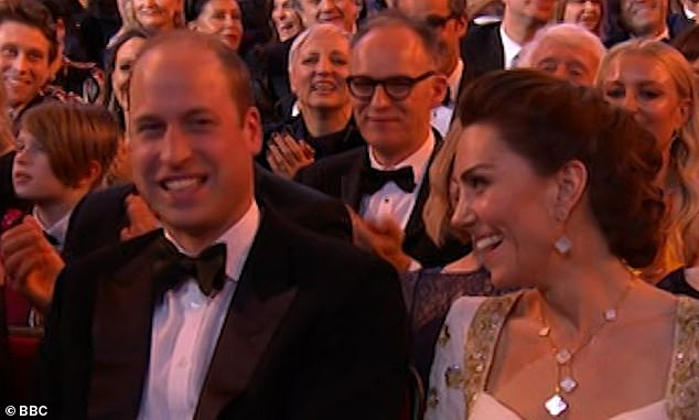 Cracking up: The Duke and Duchess of Cambridge were seen laughing at the joke