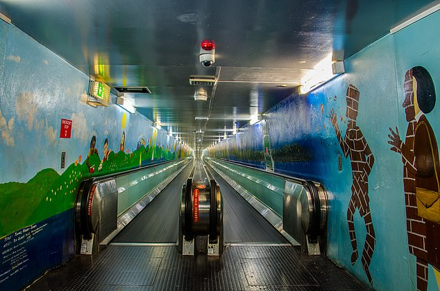 The mural, titled 'Tunnel Vision' runs along both sides of the underground travelator in Sydney's central business district and may be removed rather than repaired. The moving walkway was once the longest in the world at 207 metres in each direction