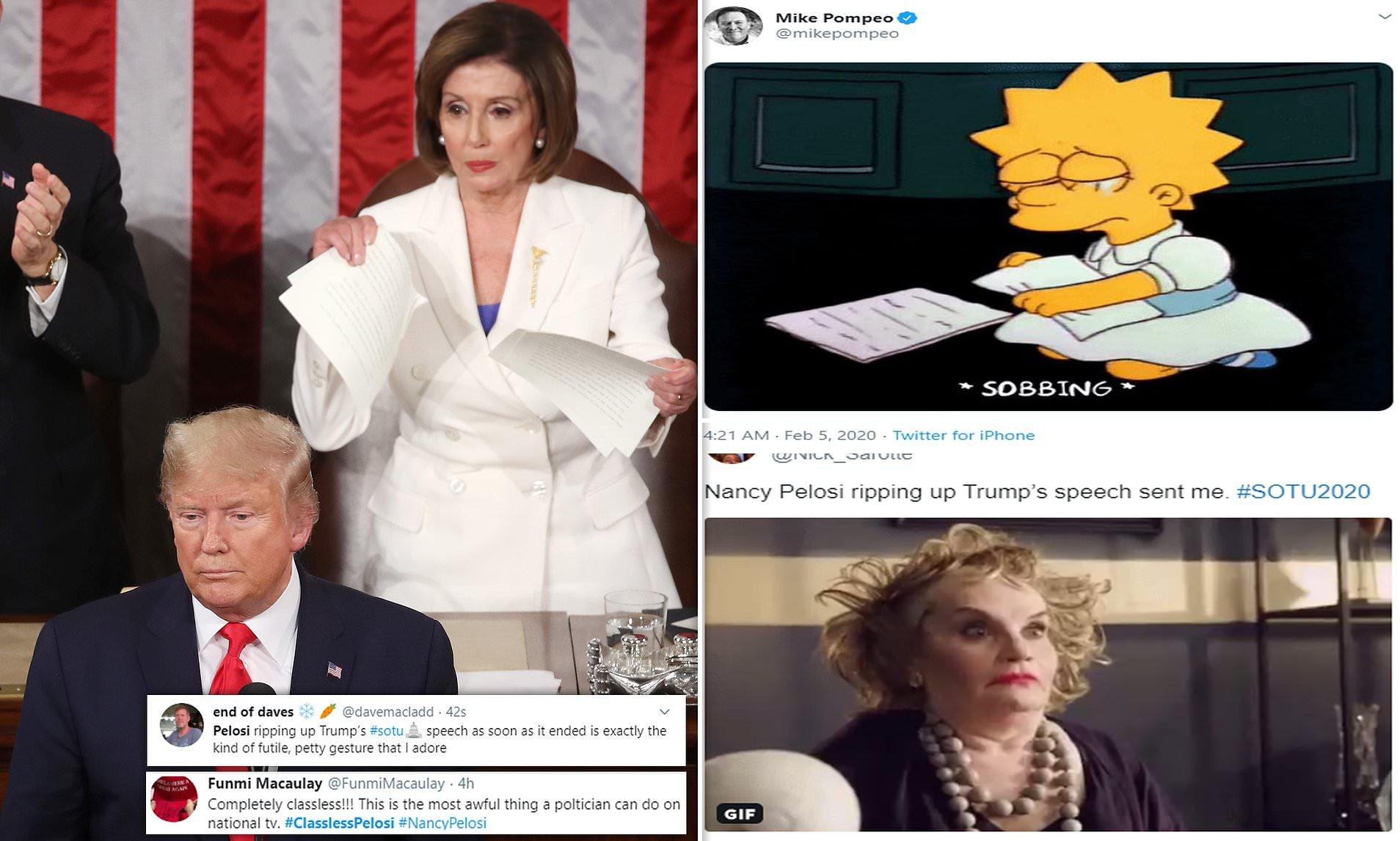 Social Media Revels In Nancy Pelosi S Speech Ripping Antics At