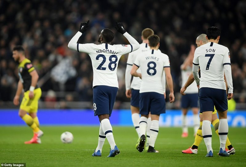 Ndombele celebrated his second goal over Southampton after first came in Tottenham's win over them in September last year