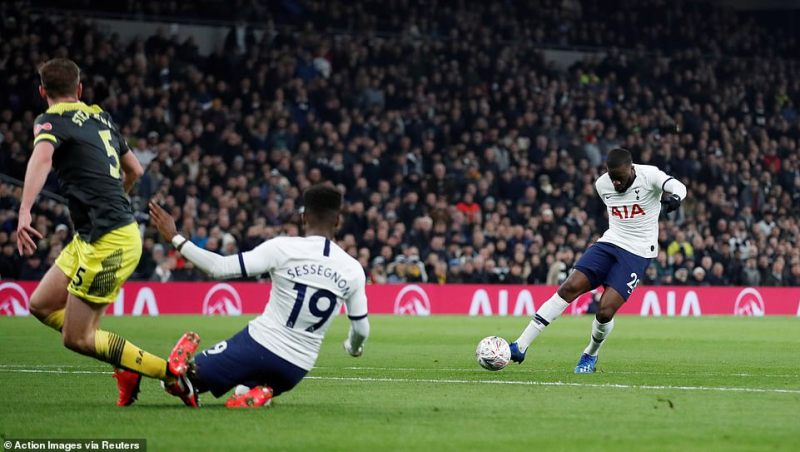 Tanuy Ndombele's effort after 12 minutes deflected off Jack Stephens, who went to ground, and past Angus Gunn