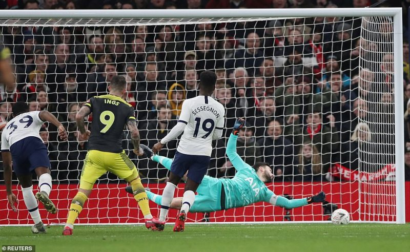 Ings watched as the rolled beyond the reach of Tottenham goalkeeper Hugo Lloris and into the bottom left corner