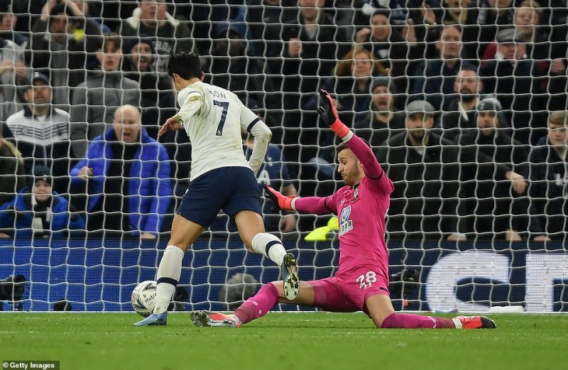 Son won the penalty after his quick feet got him past Southampton goalkeeper Angus Gunn who brough the forward down