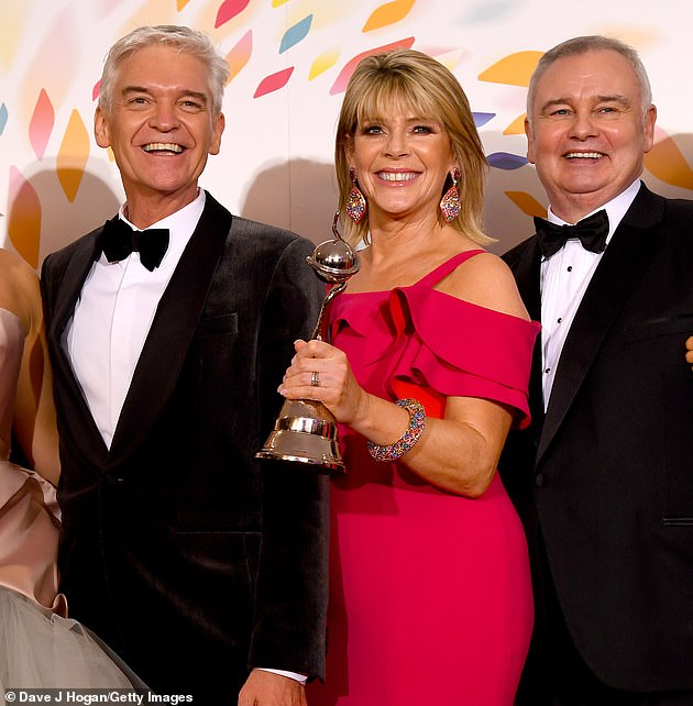 Fuming:Ruth and husband Eamonn have reportedly been involved in a high-profile rift with Phillip after he interrupted her while she was presenting a preview for the show via a video link-up last year (pictured at the NTAs)